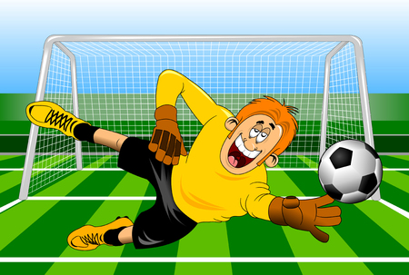 arquero de futbol: Goalkeeper jump catch a ball, vector-illustration