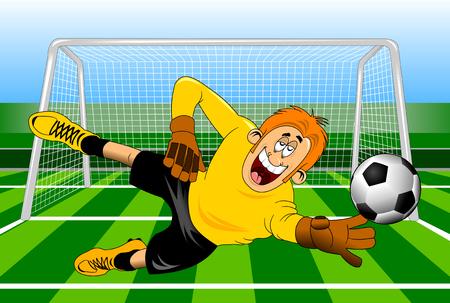 Goleiro salto pega uma bola, ilustração vetorial Foto de archivo - 84405352