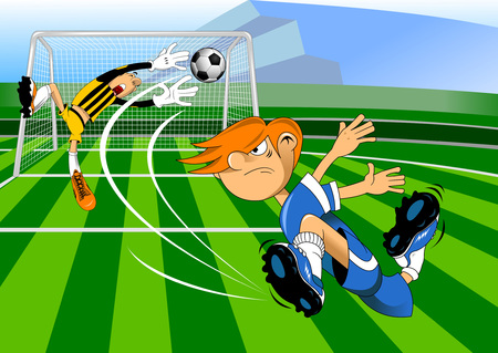 striker: Image of a young man playing football, vector-illustration.