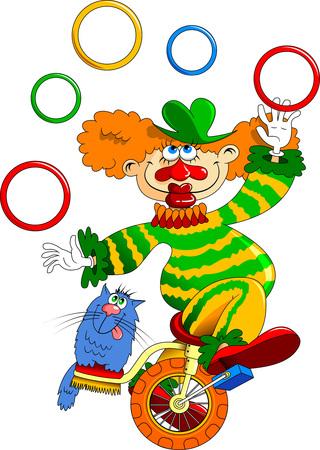 Grappige clown en kat op een witte achtergrond, vectorillustratie Stock Illustratie