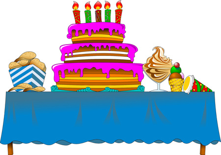Banquet table with cake and sweets vector illustration