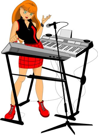 Young woman playing on synthesizer. Female musician keyboardist. Vector Illustration