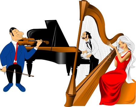 cheerful violinist, a pianist with a mustache and a beautiful girl playing music on an old harp Illustration