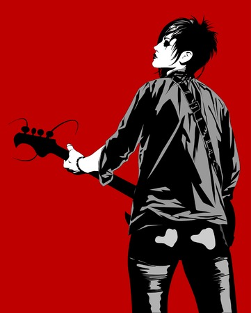 rock musician with a guitar jumping on stage, vector Illustration