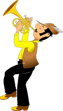 cheerful trumpeter in a hat with a feather plays on a golden trumpet, vector Illustration