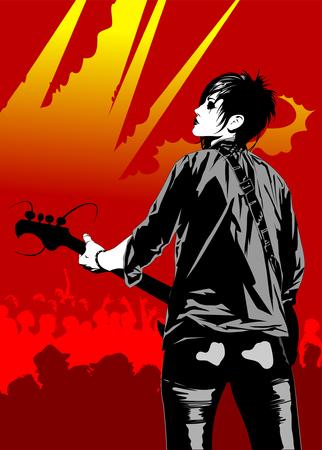 Músico de rock con una guitarra.