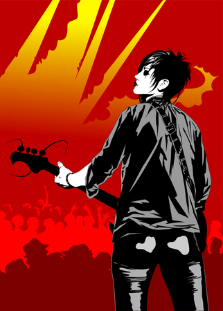 Rock musician with a guitar.
