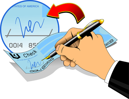 Close-up of hand holding a pen signing a blank check