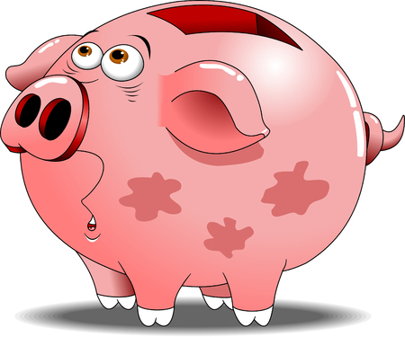Pink pig piggy bank with a surprised expression, vector Illustration