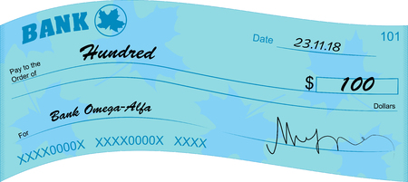 Blue bank check illustration design cheque vector