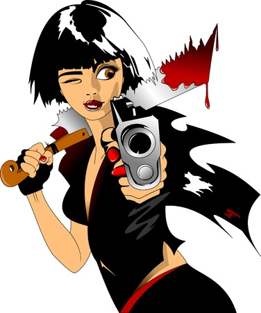 Woman in black uniform with gun and sword icon. Illustration