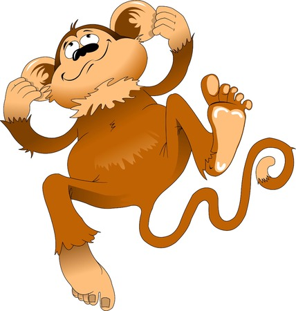 Cheerful monkey laughing and jumping, vector and illustration Vectores