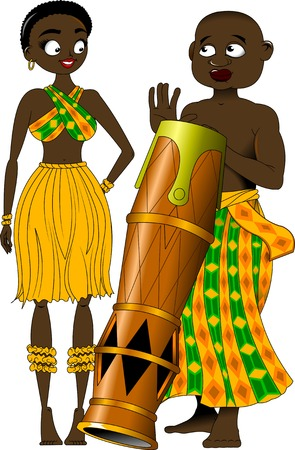 Man and woman in national African clothes. Illustration