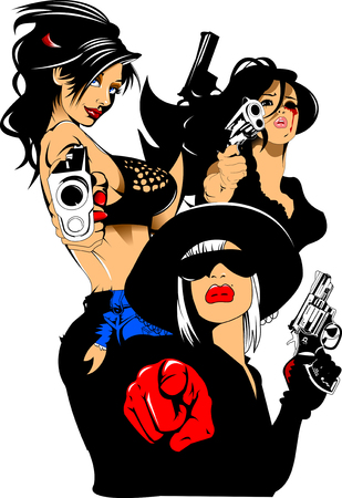 Three beautiful and dangerous women with arms, vector and illustration
