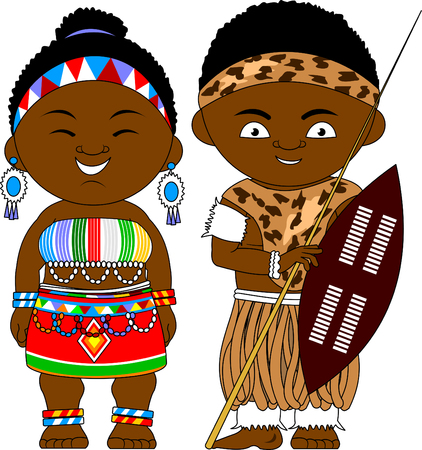 Man and woman in national African clothes, vector and illustration