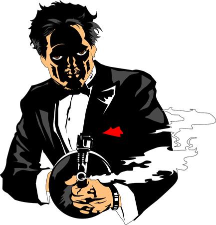 Sketch illustration of a man holding a thompson gun, vector Illustration