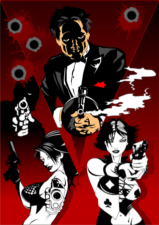 Man and woman in black suits with a weapon, vector and illustration Vettoriali