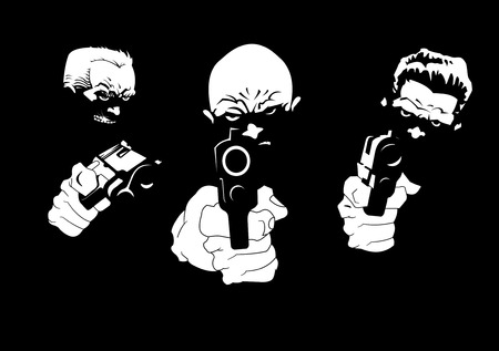 three killers with three pistols on a black background, vector and illustration