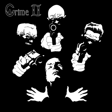 four criminals with three pistols on a black background, vector and illustration Illustration