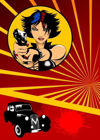 beautiful girl with a gun and a black car on a red background