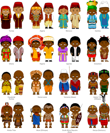African men and women in national traditional costumes, vector and illustration
