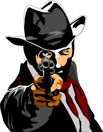 Sheriff with a revolver vector illustration