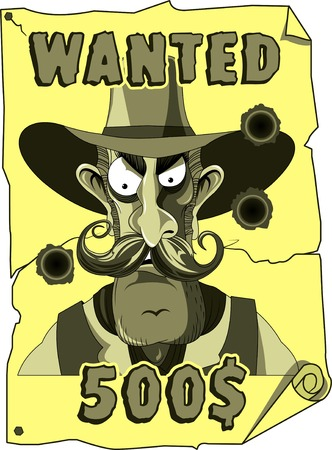 Cartoon cowboy wanted poster from the old west Vector and illustration