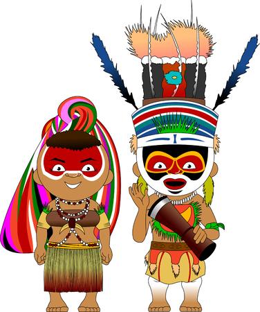 伝統的な衣装を着たパプアニューギニアのキャラクター