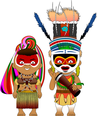 Characters from Papua New Guinea in traditional costume