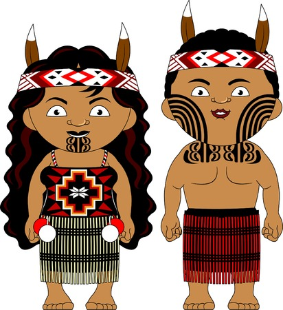 Man and woman in traditional costume vector illustration.