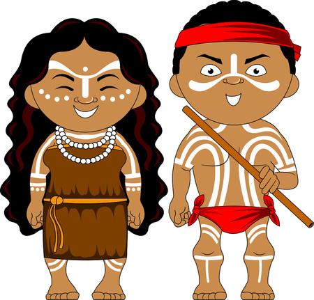 伝統的な衣装を着た男女。ベクトルとイラストレーション