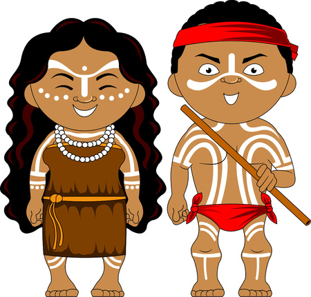 Man and woman in traditional costume. Vector and illustration