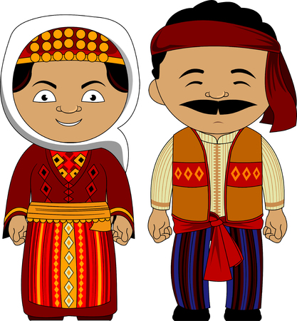 young couple in national traditional costumes, vector and illustration Stock Vector - 96721117