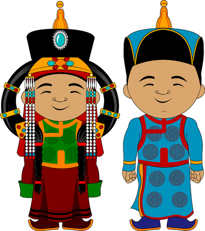 young couple in national traditional costumes, vector and illustration Иллюстрация