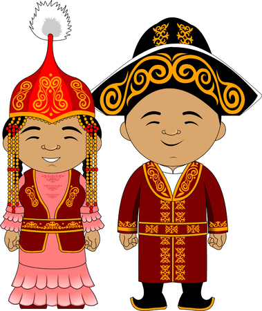 Young couple in national traditional costumes, vector and illustration