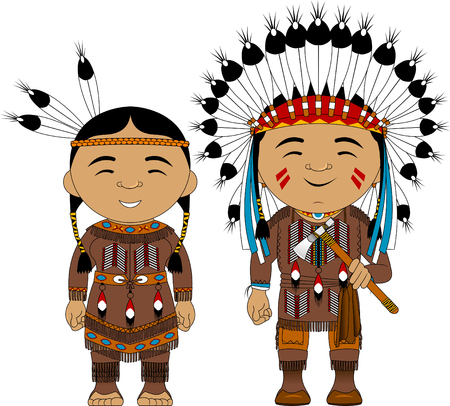 Uomo e donna in costumi tradizionali indiani d'America, vettore