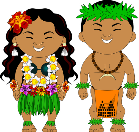 Man and woman in traditional Hawaiian costumes, vector Vectores