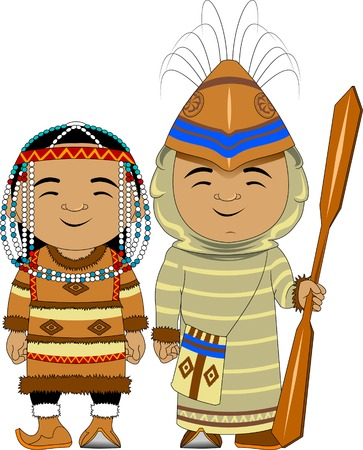 Man and woman in traditional Aleut costumes, vector and illustration
