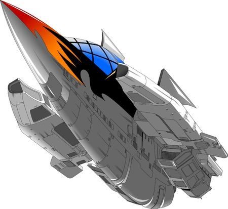 Large space ship of gray color with a pattern of fire at the stern