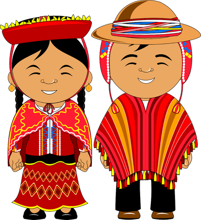 Man and woman in traditional costume, vector flat illustration Фото со стока - 101032702
