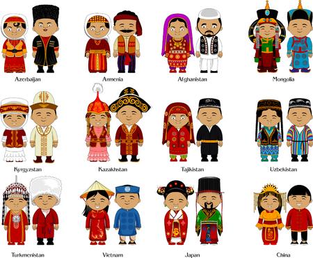 Pueblos del Cáucaso y Asia en traje nacional, vector e ilustración