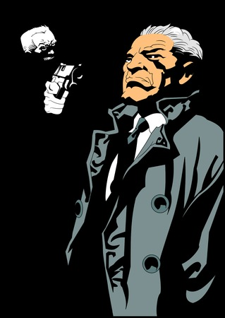 Armed with a gun robber a businessman, vector and illustration