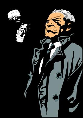 Armé d'un voleur d'arme un homme d'affaires, vecteur et illustration Vecteurs