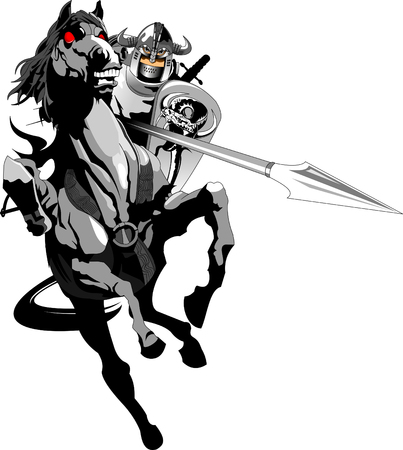 Knight with armor riding a horse and Jousting, vector