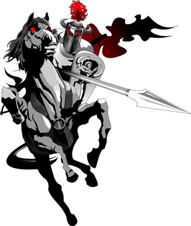 Chevalier avec armure monté sur un cheval et joutes, vecteur