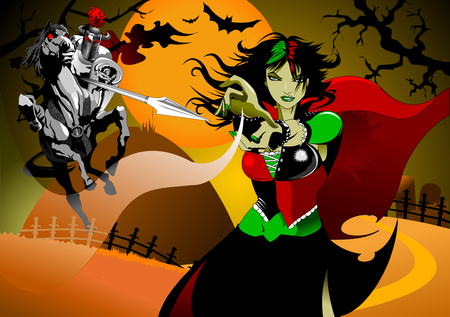 black knight on battle horse fighting with witch, vector 矢量图像