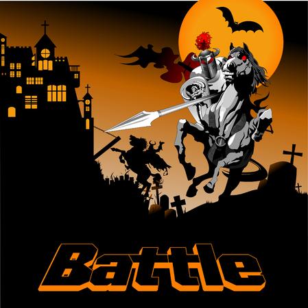 chevalier noir sur cheval de bataille combattant avec sorcière, vecteur