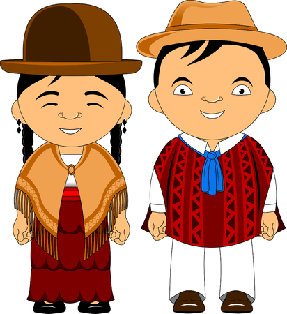 Man and woman in traditional costume, vector flat illustration Vektorové ilustrace