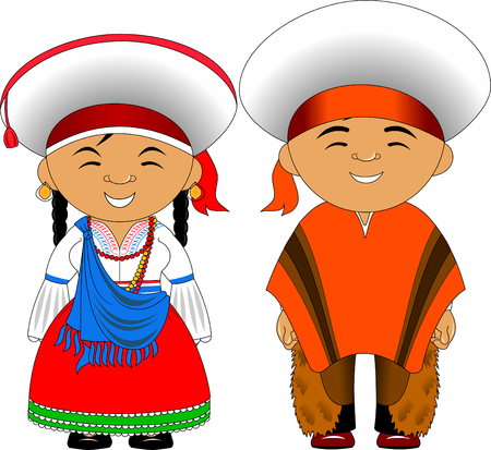 Man and woman in traditional costume, vector flat illustration Vetores