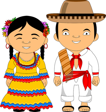 Man and woman in traditional costume, vector flat illustration Vecteurs